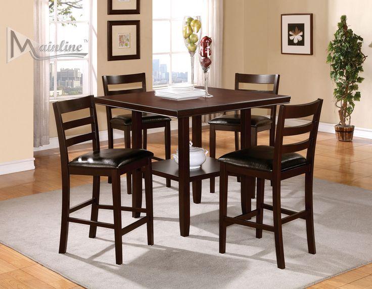 Mainline Inc Java 5pcs Chocolate Brown Bar Height Dining Set Bar Height Dining Table Bar Table Dining Room Table