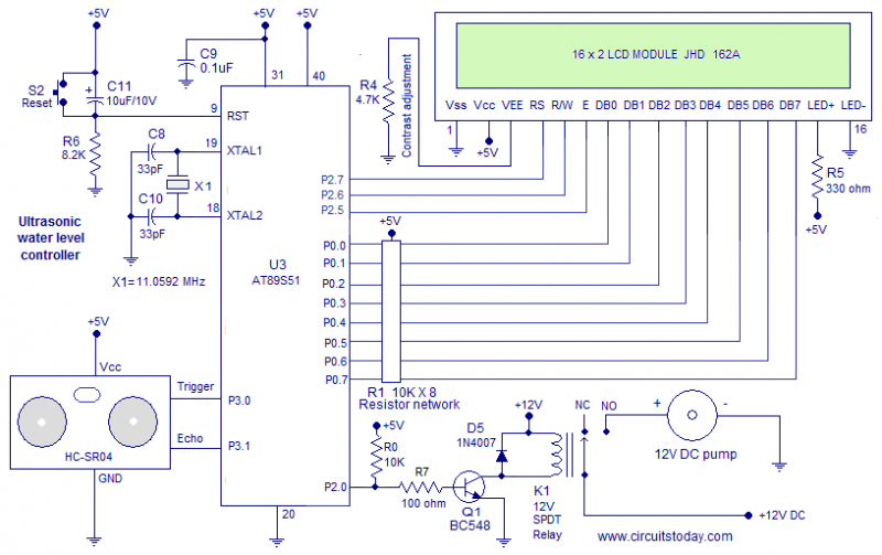 Fantastic Ultrasonic Water Level Controller Using 8051 Electronic Intruder Wiring Digital Resources Antuskbiperorg