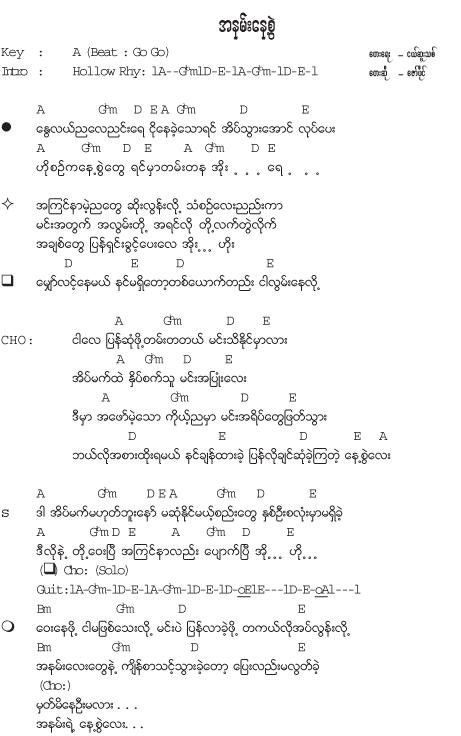 A Nann Nayt Swell | Collection of Myanmar Songs Lyrics | Lyrics ...