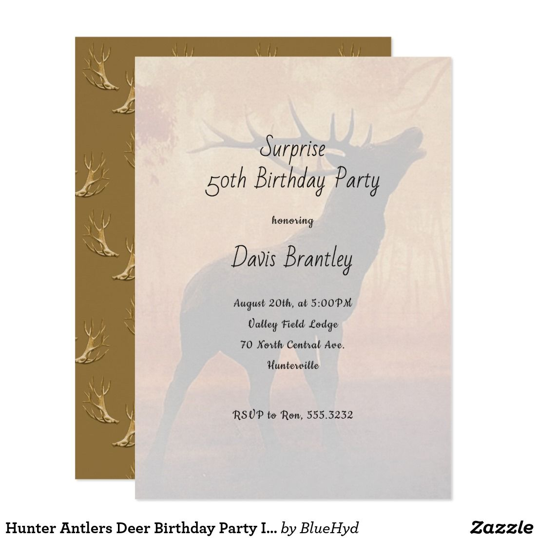 Hunting theme birthday party invitation for him dad husband hunter antlers deer birthday party invitation stopboris Images