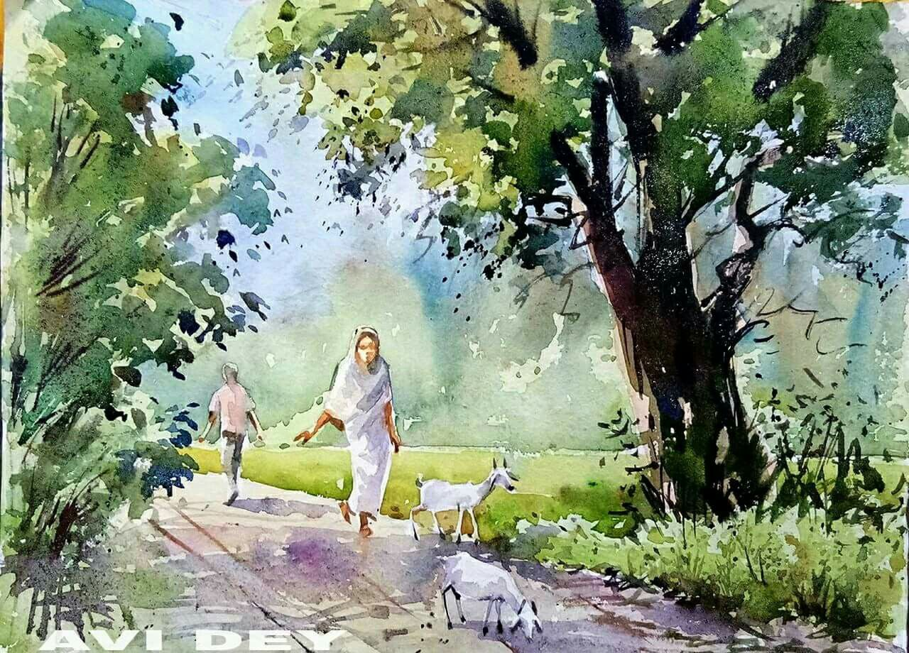 Watercolor Landscape Image By Amrita Khanzode On Art Watercolor