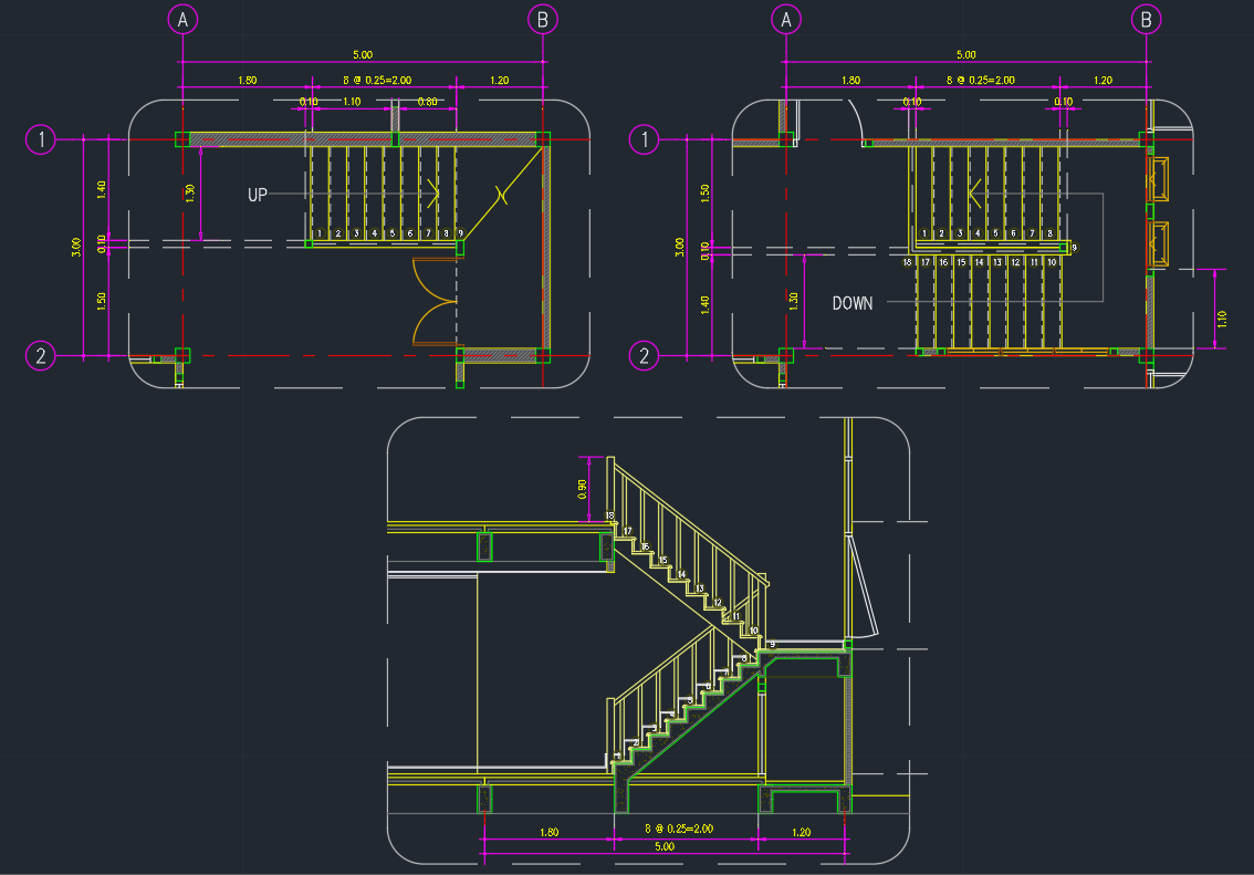 stair,stairs,staircase,stair treads AutoCAD Drawing for ...