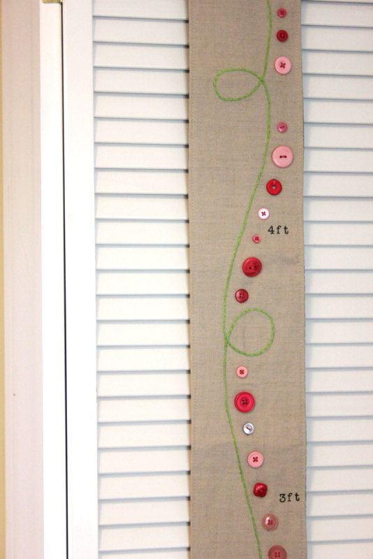 Girls Growth Chart Fabric Lime Green Pink For Childrens Nursery