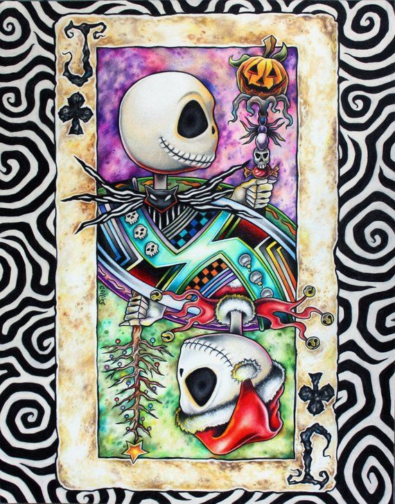 d81f3f49139 Jack Skellington Nightmare Before Christmas art print as Jack of Clubs  Playing Card