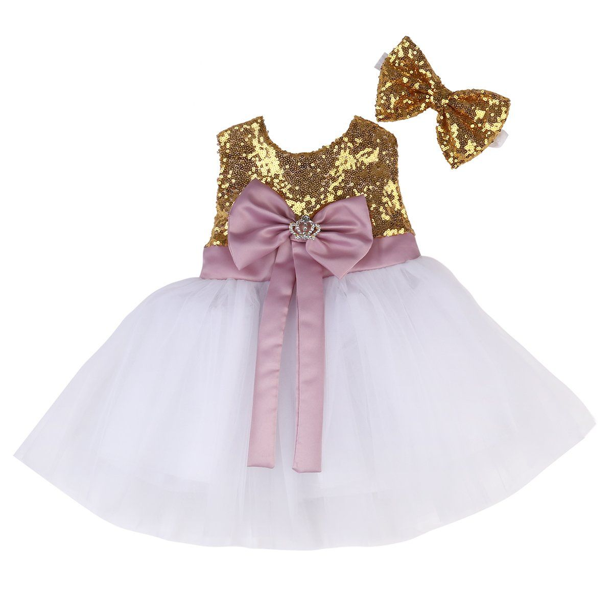 Baby girl dress sequins bowknot princess party pageant birthday tutu
