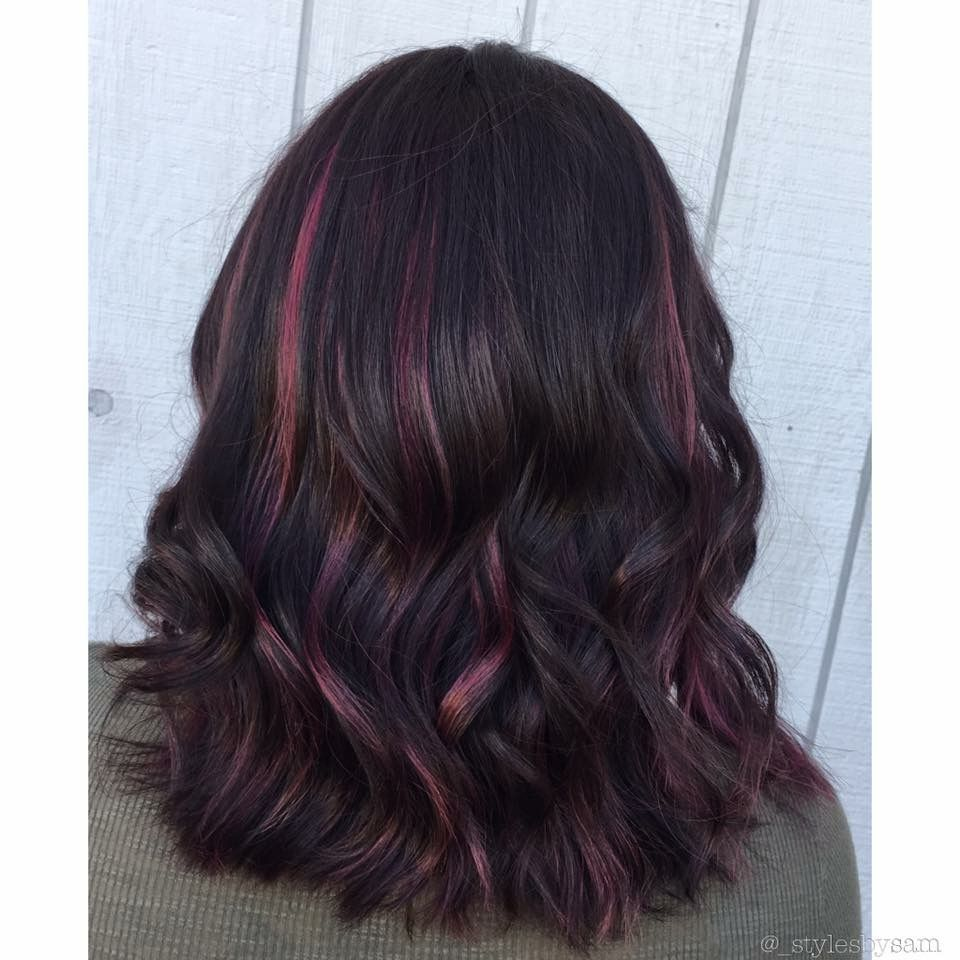 Subtle Pink Highlights On Black Hair Samcontempo Hair Color For Black Hair Black Hair With Highlights Black Hair Pink Highlights
