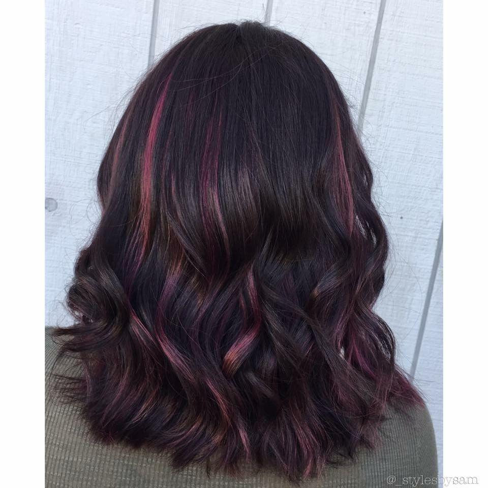 Subtle Pink Highlights On Black Hair Samcontempo Black Hair With Highlights Hair Color For Black Hair Black Hair Pink Highlights