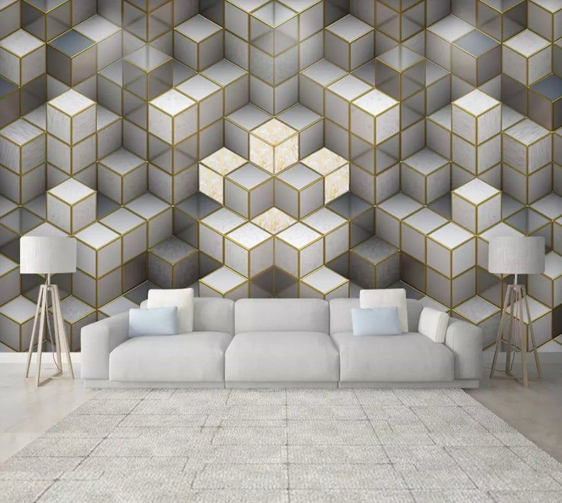 3d Abstract Repeating Elements Cube Wallpaper Removable Self Adhesive Wallpaper Wall Mural Vintage Art Peel And Stick Textured Wallpaper Self Adhesive Wallpaper Traditional Wallpaper