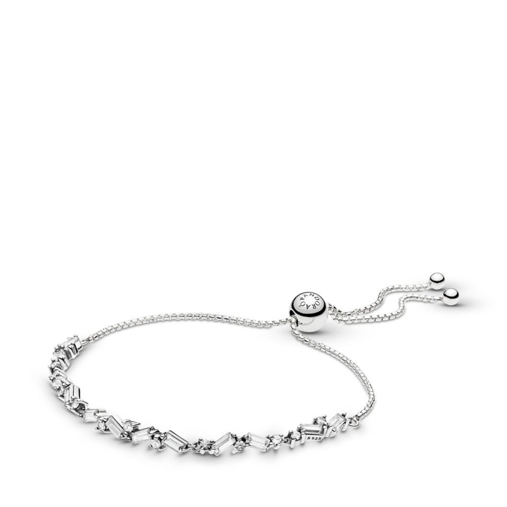 Glacial Beauty Sliding Bracelet Clear Cz Sterling Silver Silicone Cubic Zirconia Pandora 597558cz Pandora Bracelet Charms Pandora Bracelets Bracelets