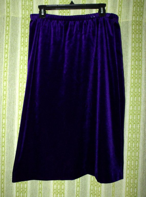 Vintage 90's 1990's Nineties 80's Eighties Purple Velvet Skirt A Line Women Grunge Gothic Goth Fall Winter Size 16 1X XL Clearance Sale