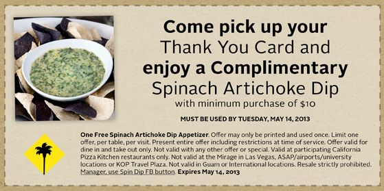 FREE California Pizza Kitchen Spinach Artichoke Dip FREEBIES