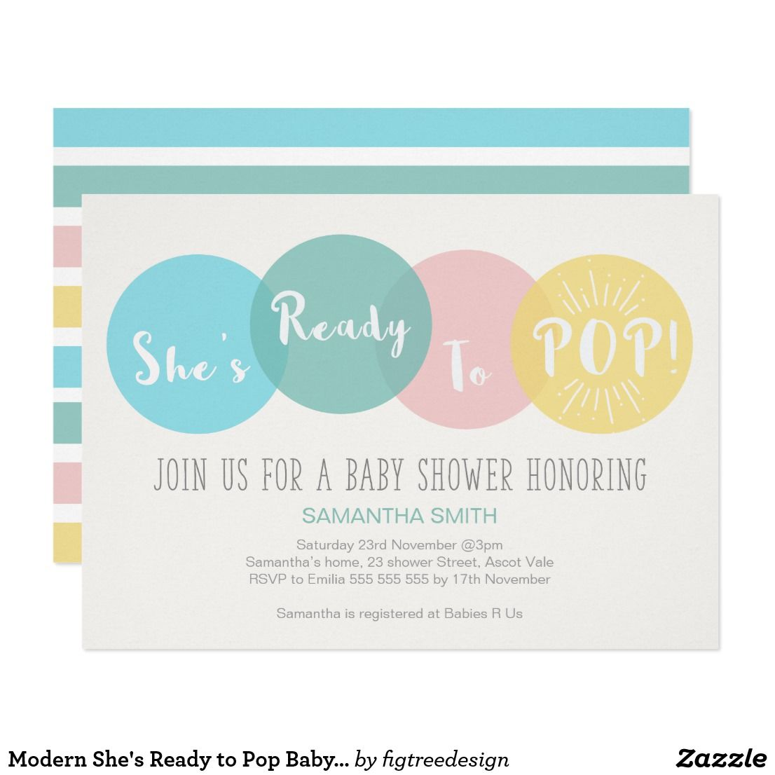 Modern She\'s Ready to Pop Baby Shower Invitation This simple she\'s ...
