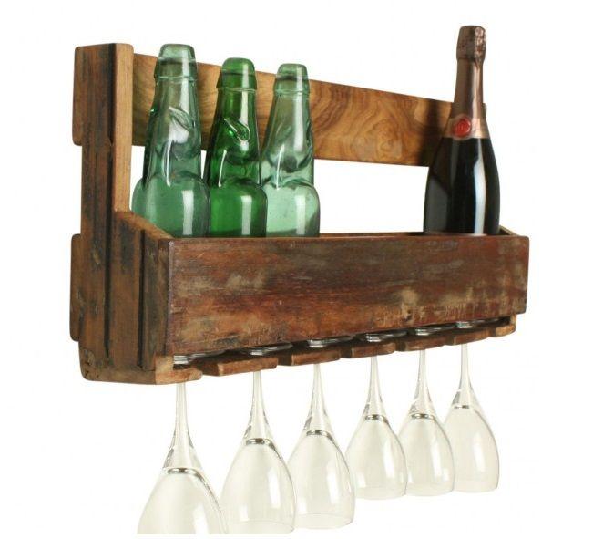 Wandregal Vintage Küche Bad Glashalter Natur EINRICHTUNG