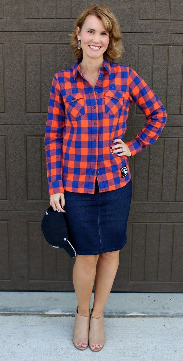 A stylish game day outfit. Pair a flannel shirt with a denim skirt for a  slightly dressier look. You ll be ready to cheer on your favorite football  team in ... 7b32d2cb8