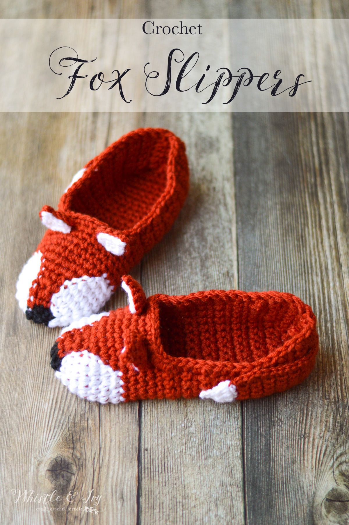 7ea4aeb2938ec Crochet Fox Slippers - These cute woodland slippers are easy to work up and  are make with two strands of yarn