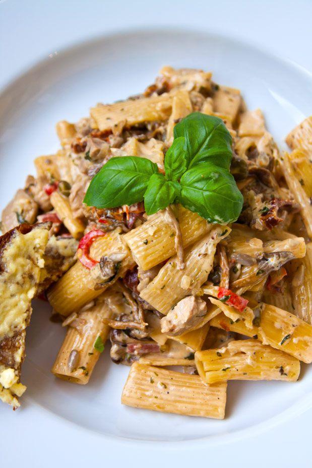fläskfile pasta med kantareller