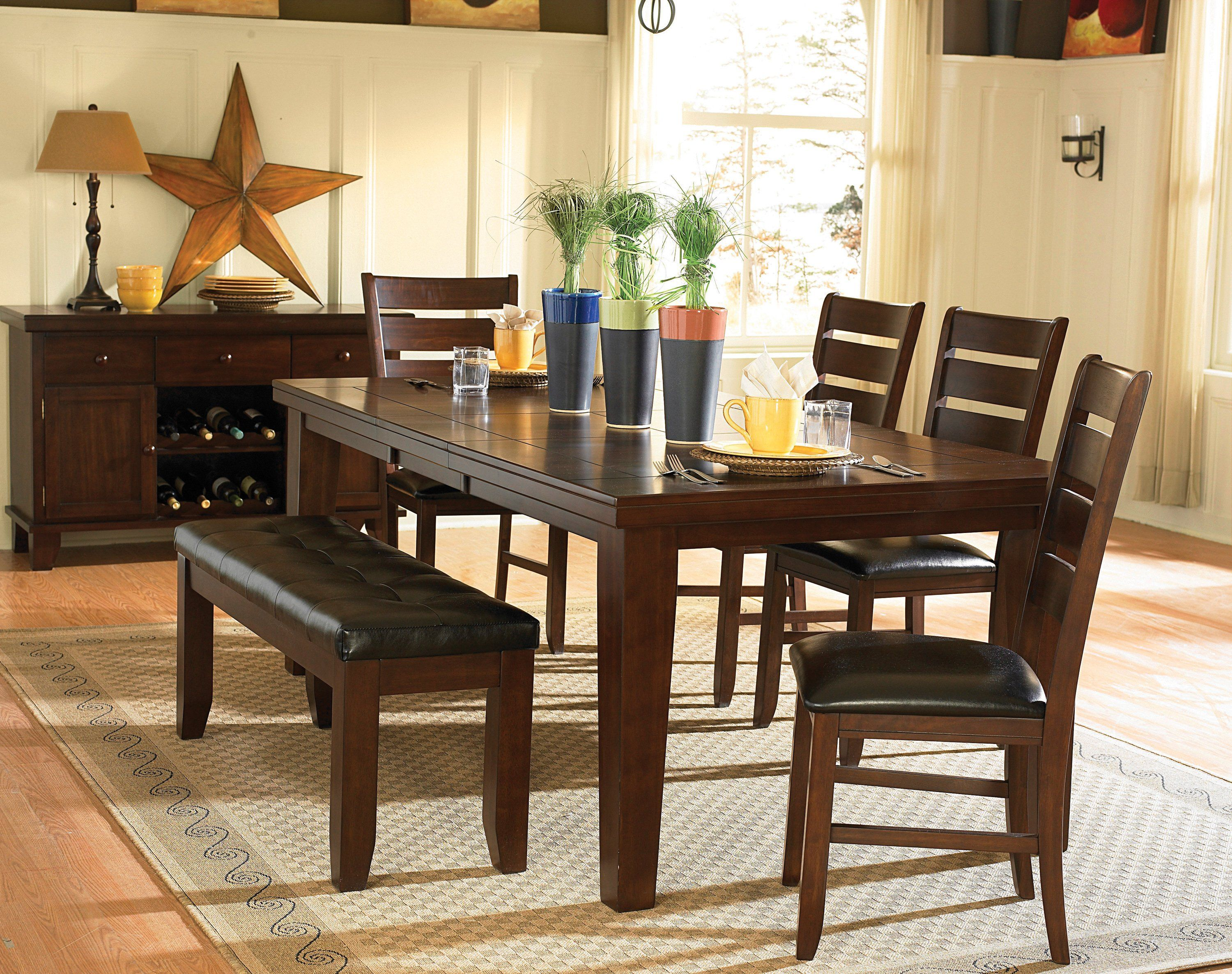 Ameillia 586 82 6pc Dark Oak Wood Leaf Dining Table Set Chairs Bench Small Dining Room Set Dining Room Sets Dining Room Small