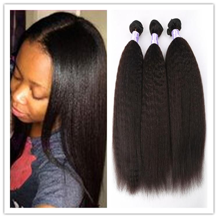 Brazilian Virgin Hair Straight Coarse Yaki Human Hair Weaves Italian