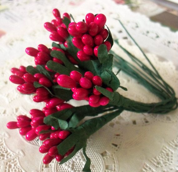 Vintage Millinery / Floral PipsPeps Holly by chocolateletters, $3.95
