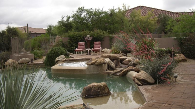 Desert landscape ideas with pool anthem pool landscaping for Az pond and pool