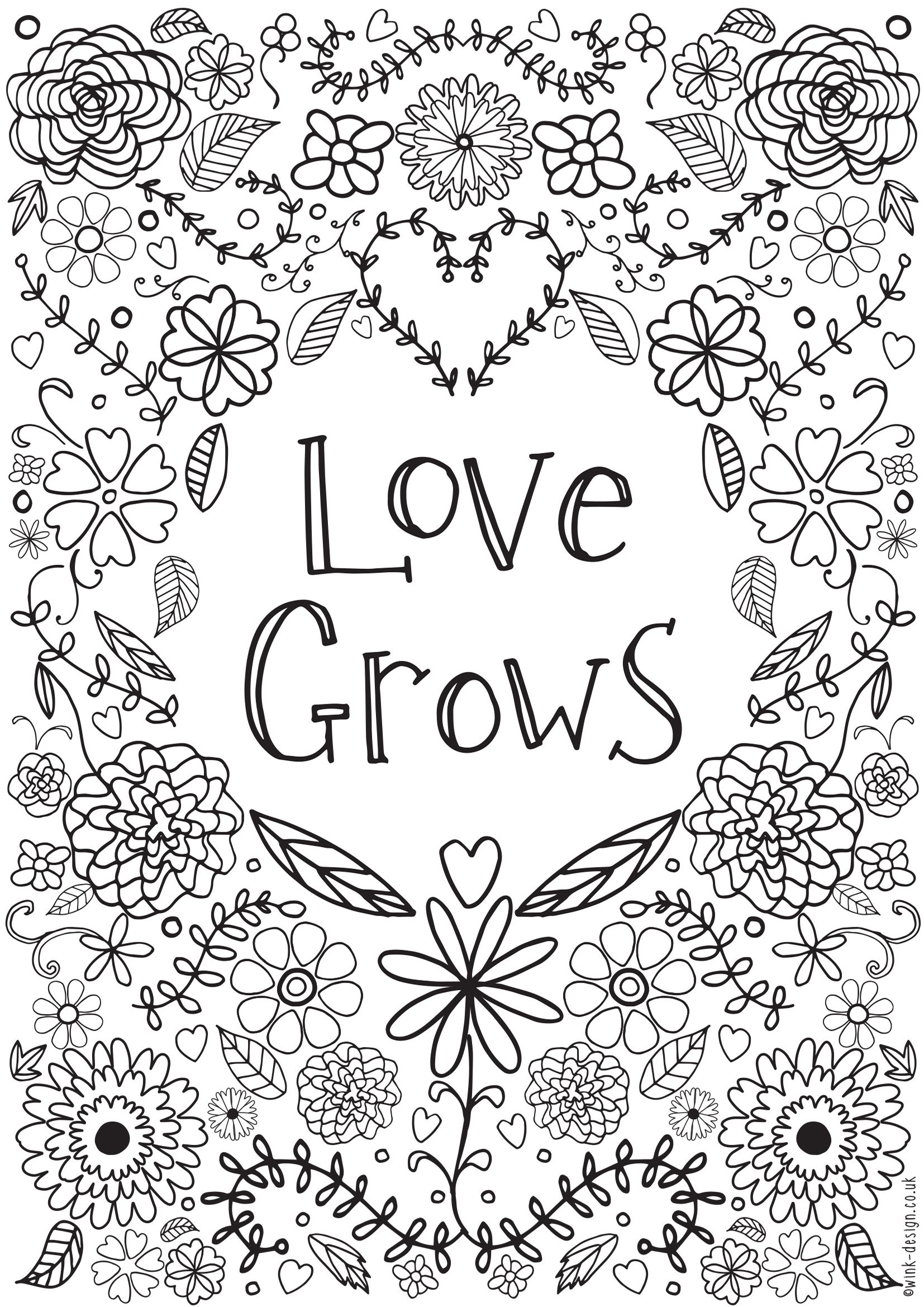 Colouring Pages For Adults With Quotes : Love grows colouring adult coloring free printable and
