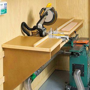 Miter Saw On Bench Bench Looks Like It Is Hung On French