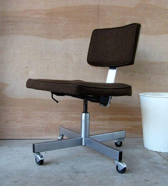 Vintage 70s Allsteel Brown Tweed Fabric Swivel Office Chair