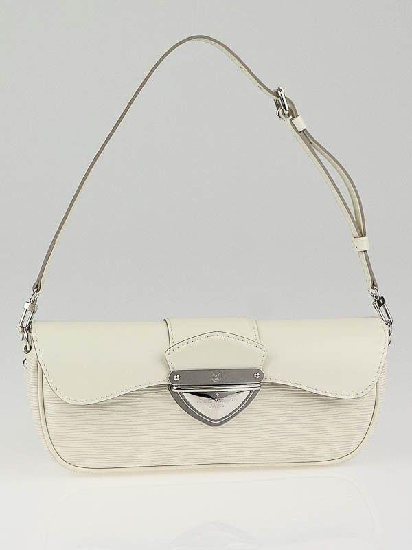 8df58b13c4a8 Louis Vuitton White Epi Leather Montaigne Clutch Bag