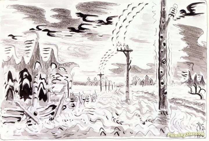 Song of the Telegraph Artwork by Charles Burchfield Hand-painted and Art Prints on canvas for sale,you can custom the size and frame