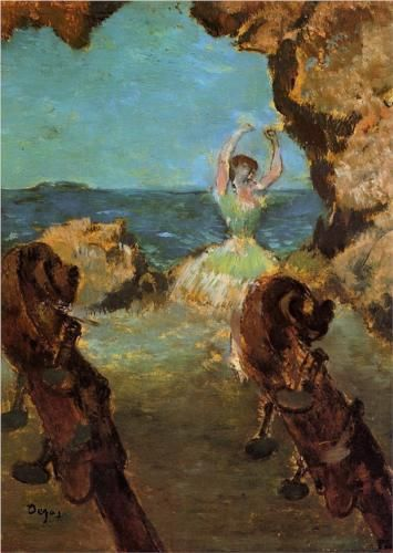 Dancer on Stage - Edgar Degas Completion Date: c.1890 Style: Impressionism Genre: genre painting Technique: oil Material: canvas Gallery: Hamburger Kunsthalle, Hamburg, Germany