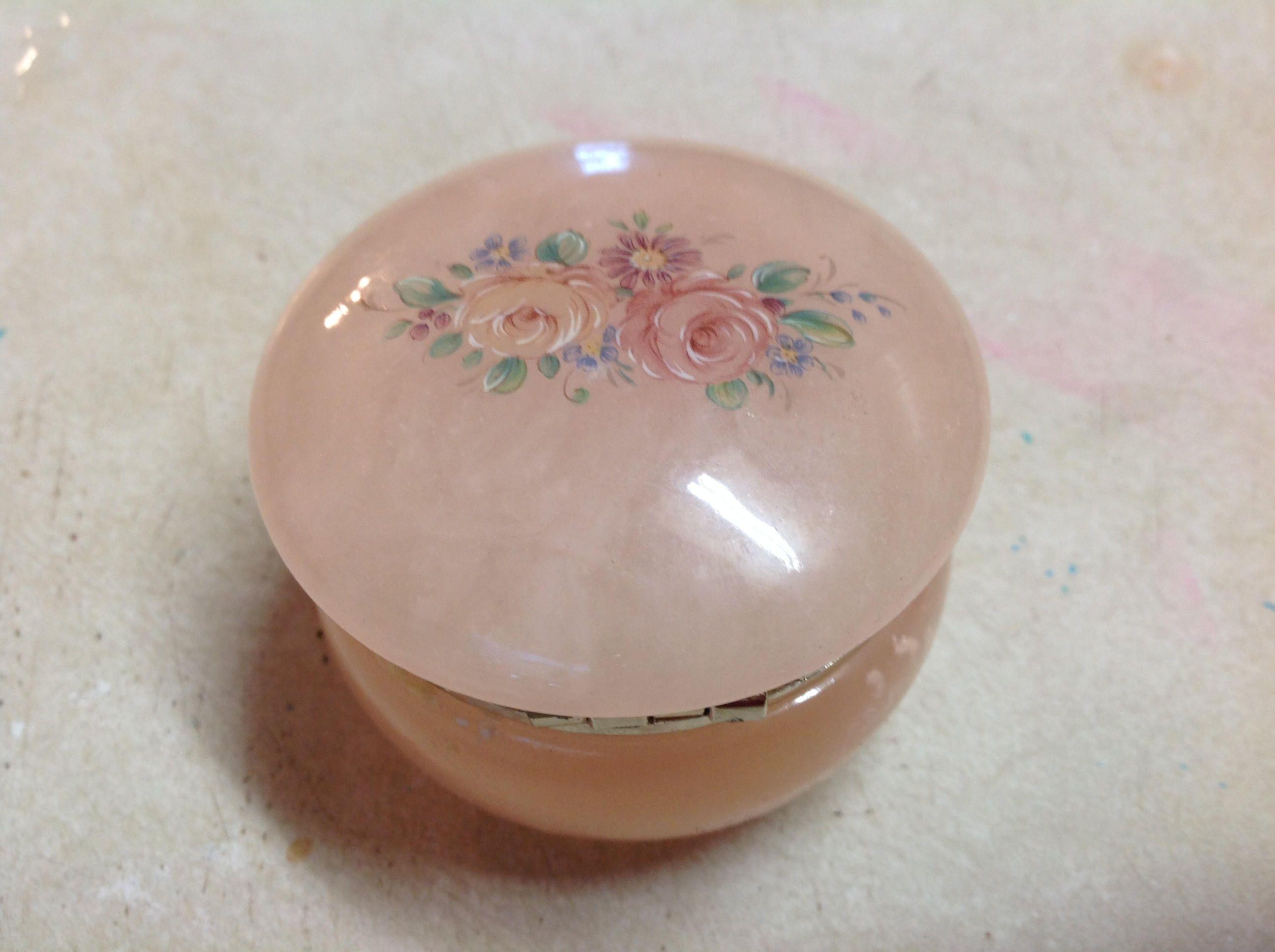 George Good Alabaster Hinged Powder Jar Hand Crafted Italy Trinket