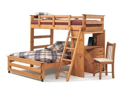 Chelsea Home 36110022 Twin Over Full Loft with Desk End Honey