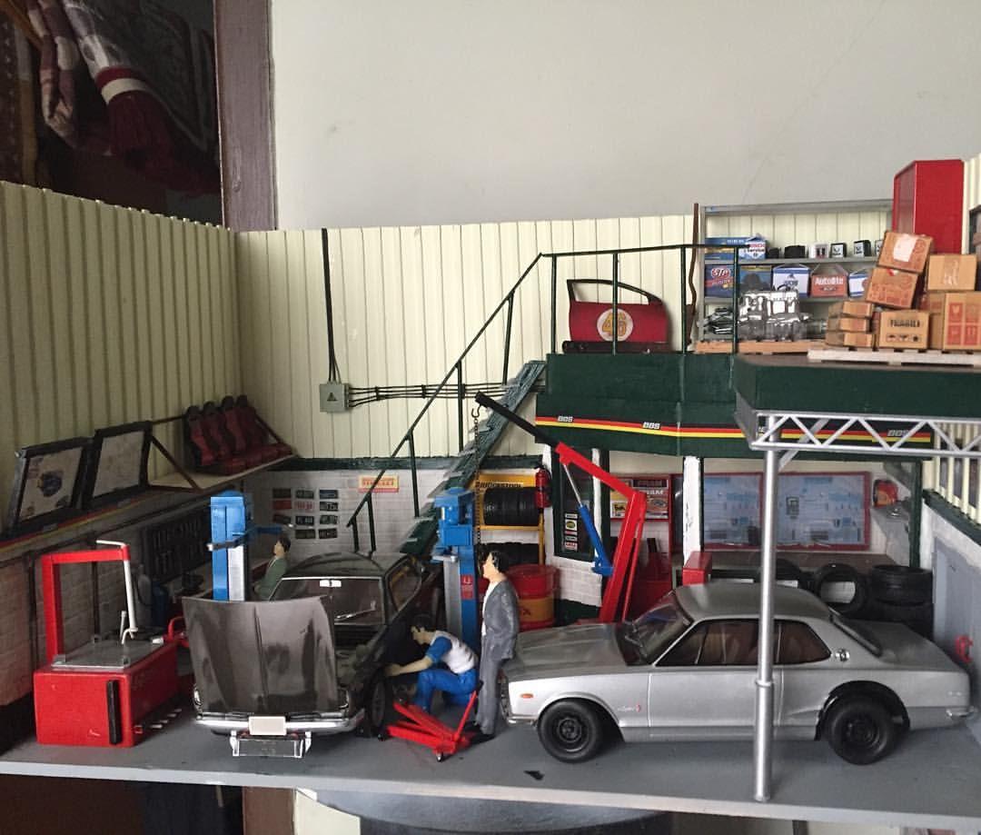 Diecast Garage Diorama scale 1/24 #diecast #diecastindo #modelkit #diorama #dioramagarage #dioramadiecast #dioramas #nissanskylinegtr