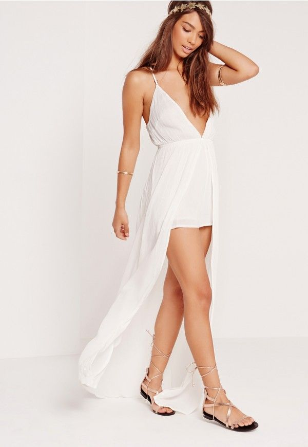 1280d77c836 Take beach babe vibes all the way into the night with this cheesecloth  playsuit. Designed with a maxi length