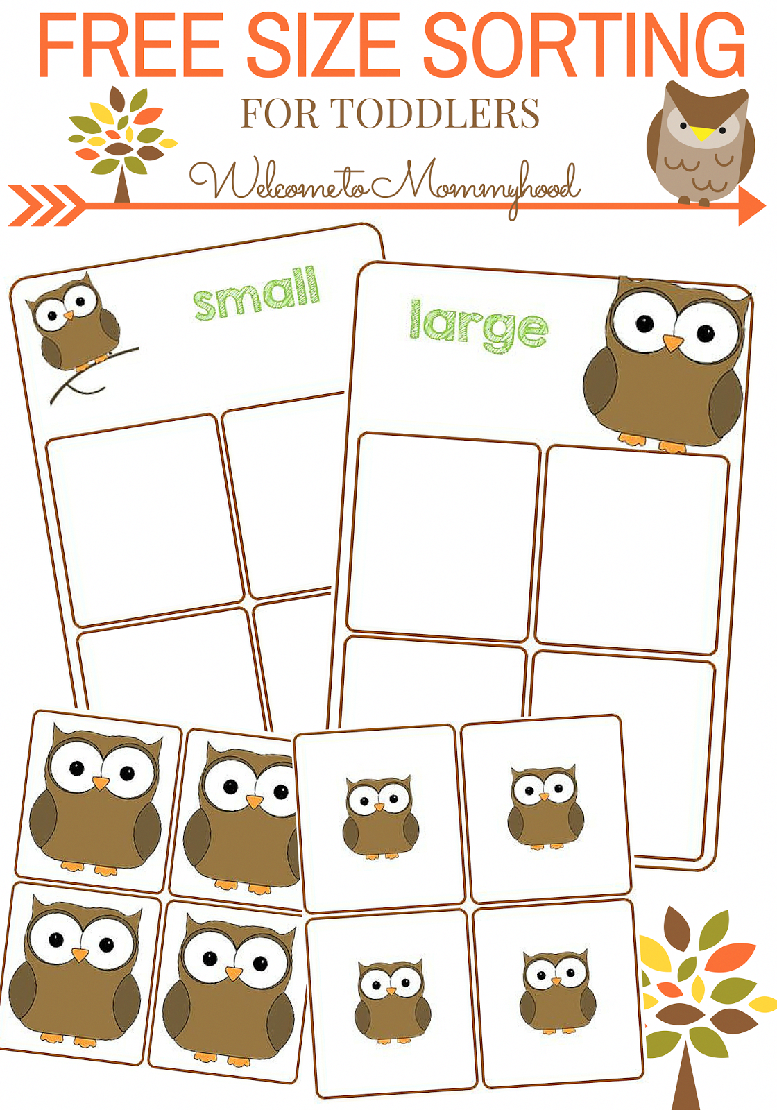 Free Size Sorting Printable For Toddlers By Welcome To Mommyhood Premath Toddleractivities Montessor Preschool Activities Owl Preschool Toddler Activities [ 1600 x 1120 Pixel ]