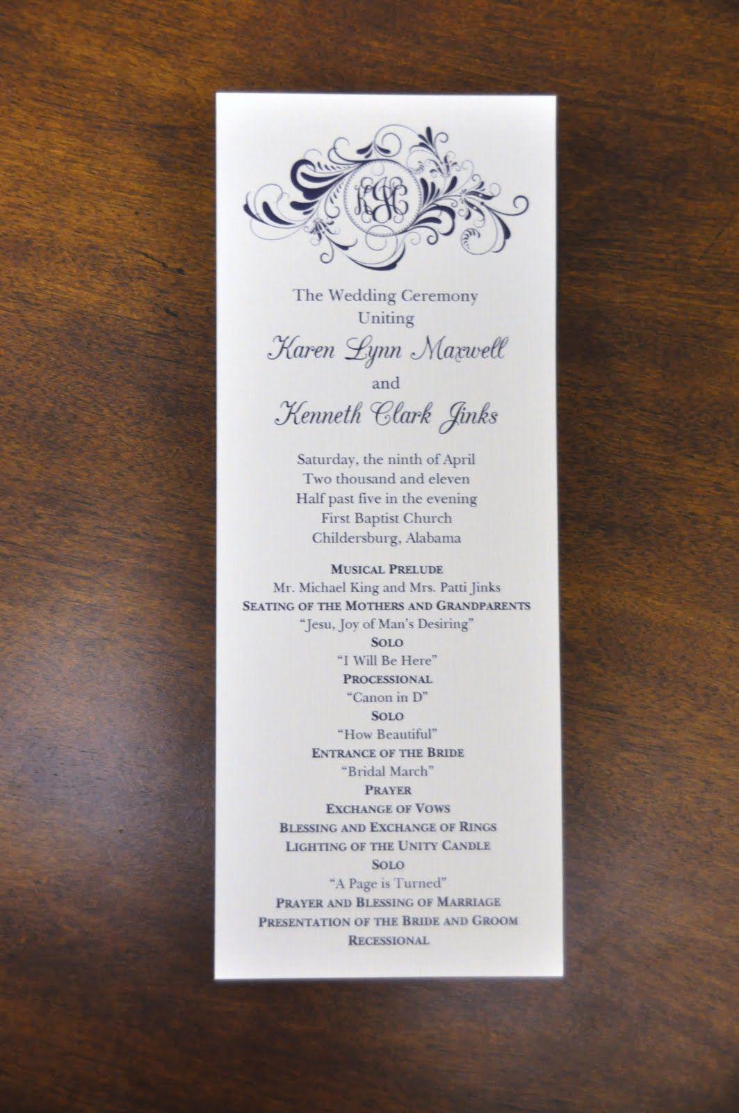 Sample New Wedding Program Wording Programs