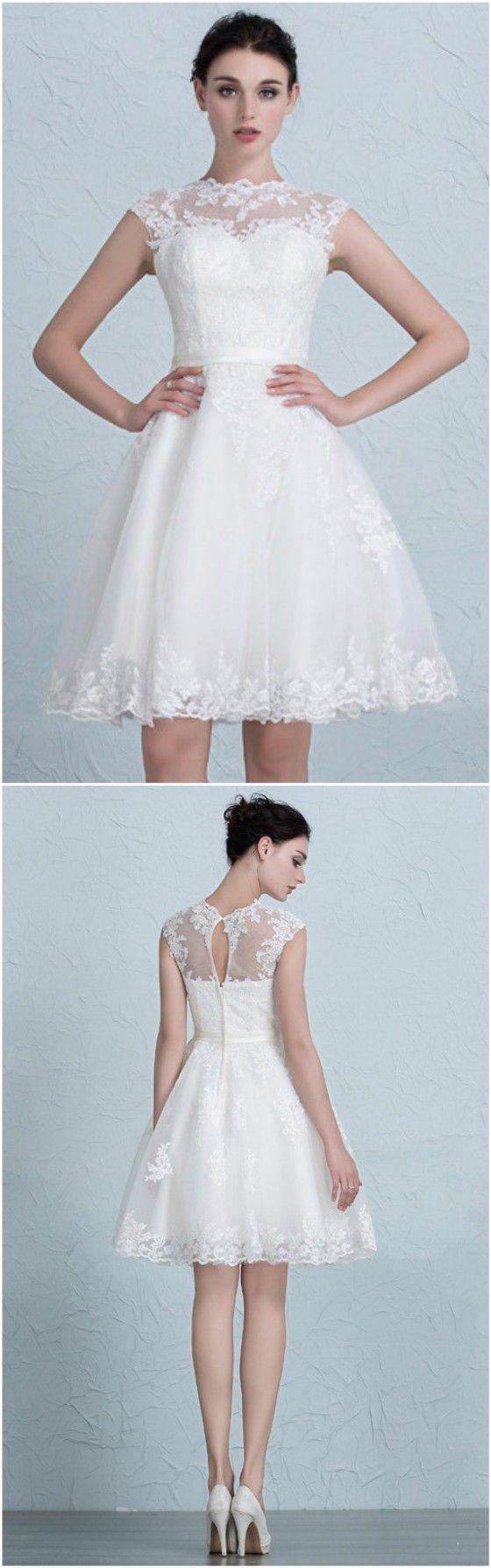 Lace A Line Short Wedding Dresses Reception Tulle Style With ...