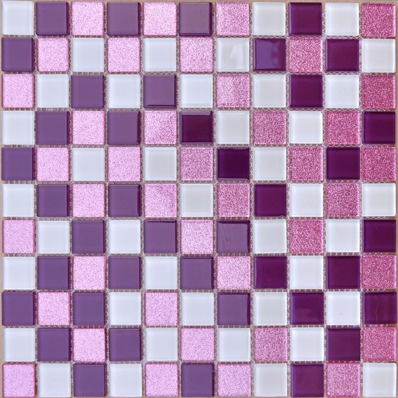 Purple glass mosaic tile backsplash pink crystal glass for Purple bathroom tiles ideas