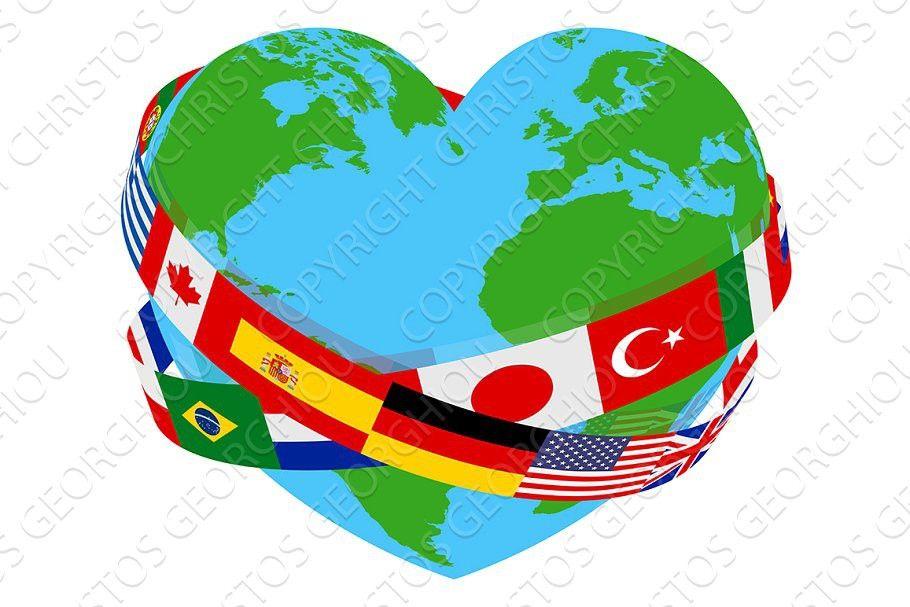 World Peace Flag Charity Heart Globe In 2020 Peace Flag World Peace Day World Peace