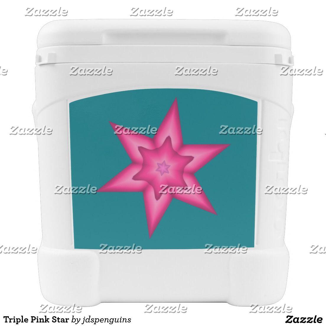 Triple Pink Star Rolling Cooler