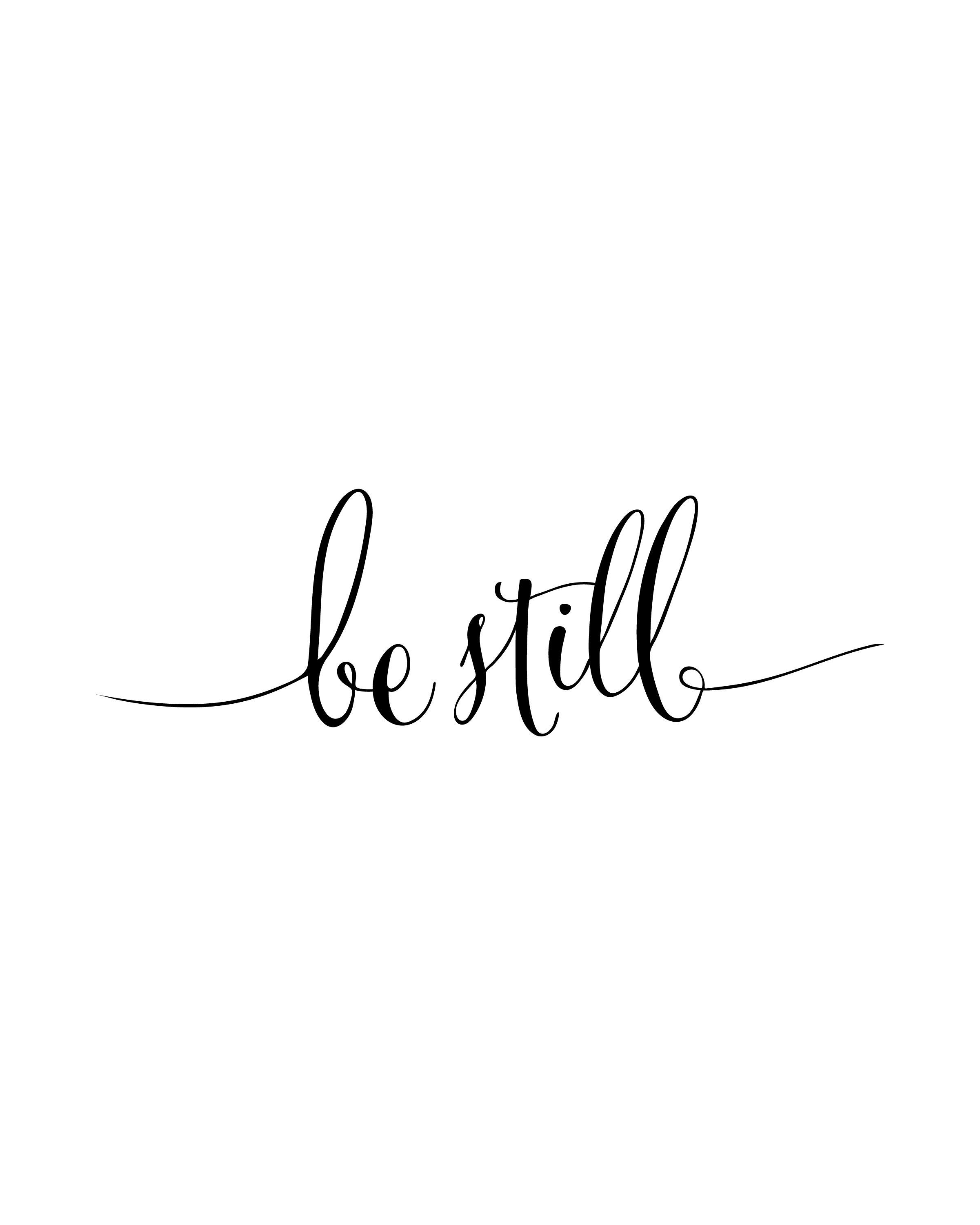 Downloadable German Tattoo Sayings: Be Still Printable Verses, Instant Download, Be Still Wall