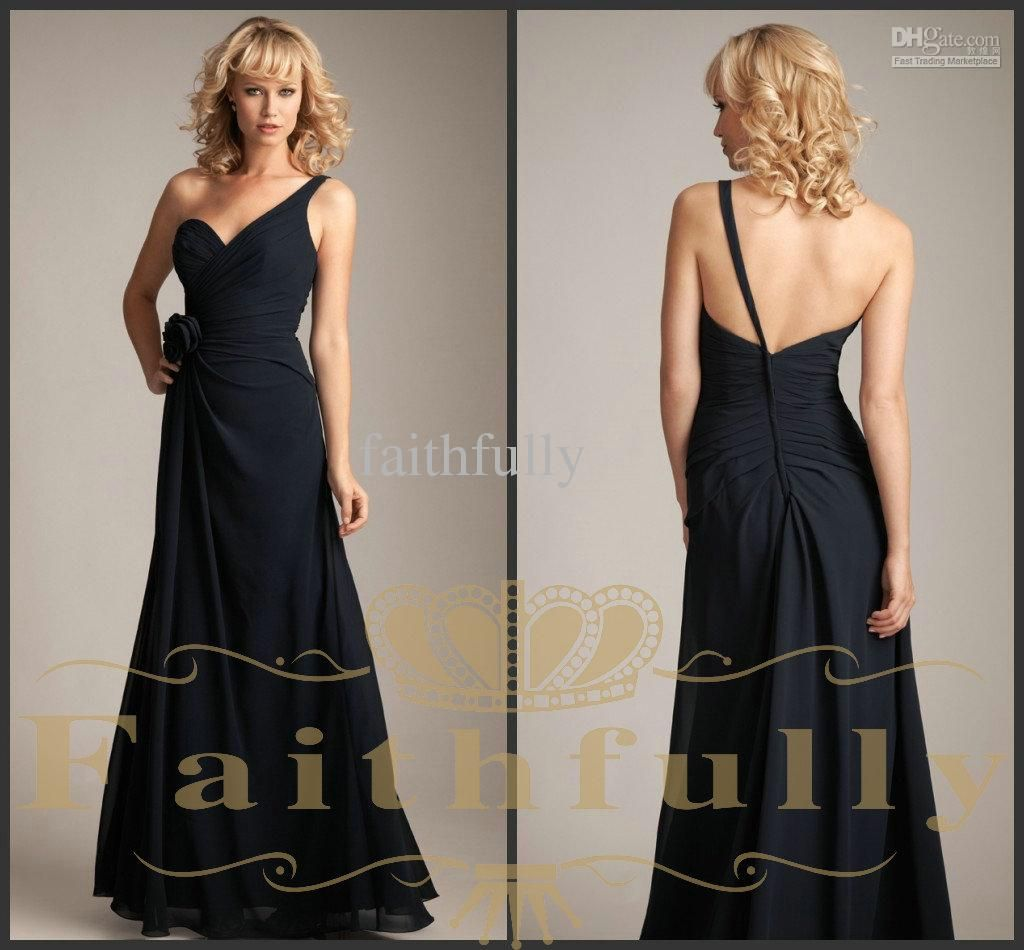 Wholesale allure grace black bridesmaid dresses chiffon one