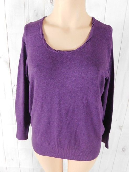 38eb93c1ade8dc NWT Lane Bryant Solid Purple Long Sleeve Pullover Sweater Top - Size 18/20