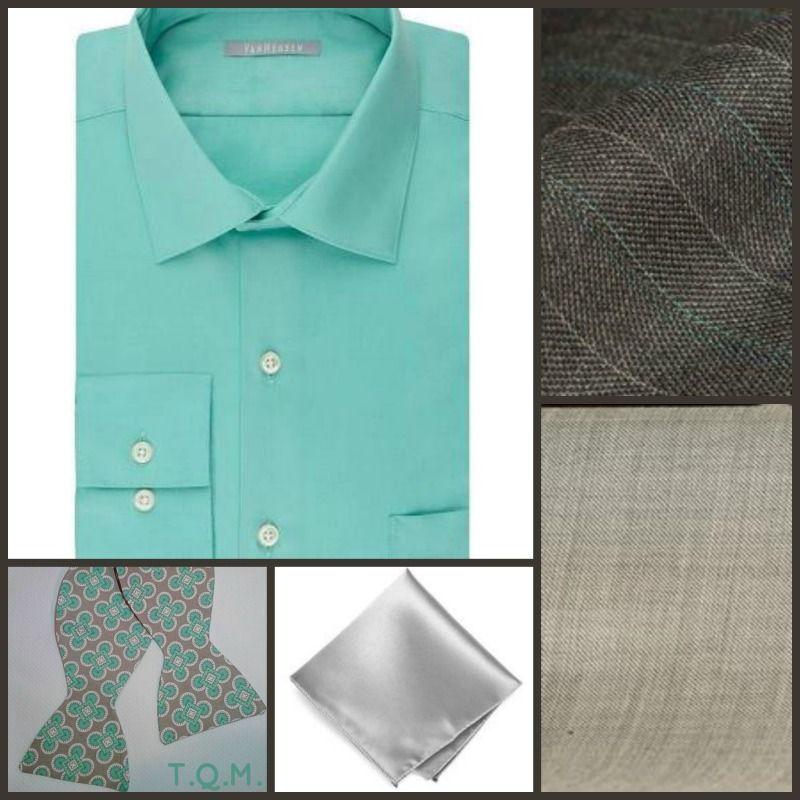 SHIRT/TIE COMBO: Van Heusen(Shirt)-V. R. Grace Dezign(Bowtie)-Solid Color Neckties(Pocket Square)-Suggested Suit Colors(Gray w/Green Stripes & Beige)-Suit Colors On Right Side.