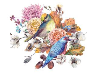 Vintage watercolor pair of birds with autumn bouquet