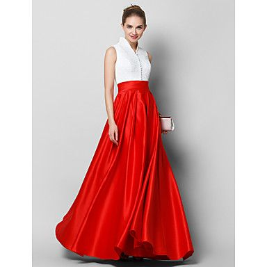 TS+Couture®+Formal+Evening+Dress+A-line+High+Neck+Floor-length+Lace+/+Satin+with+Buttons+/+Lace+–+GBP+£+81.17