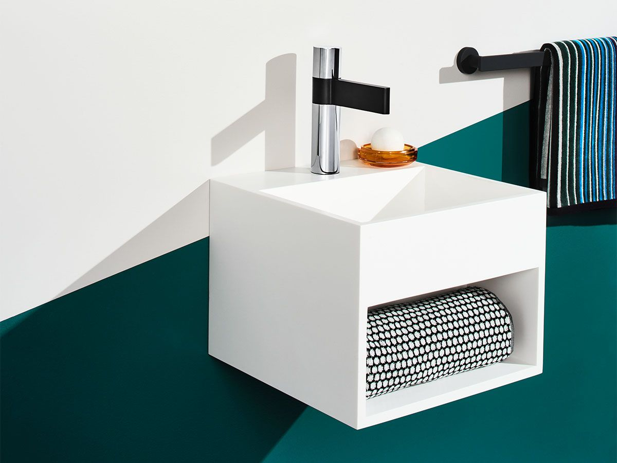The milli glance wall basin mixer set is captivating from the first - Kado Aspect 330 Solid Wall Basin