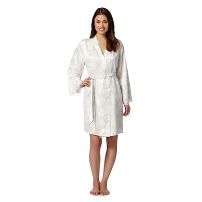Presence Ivory bloom lace trim wrap dressing gown- at Debenhams.com ...