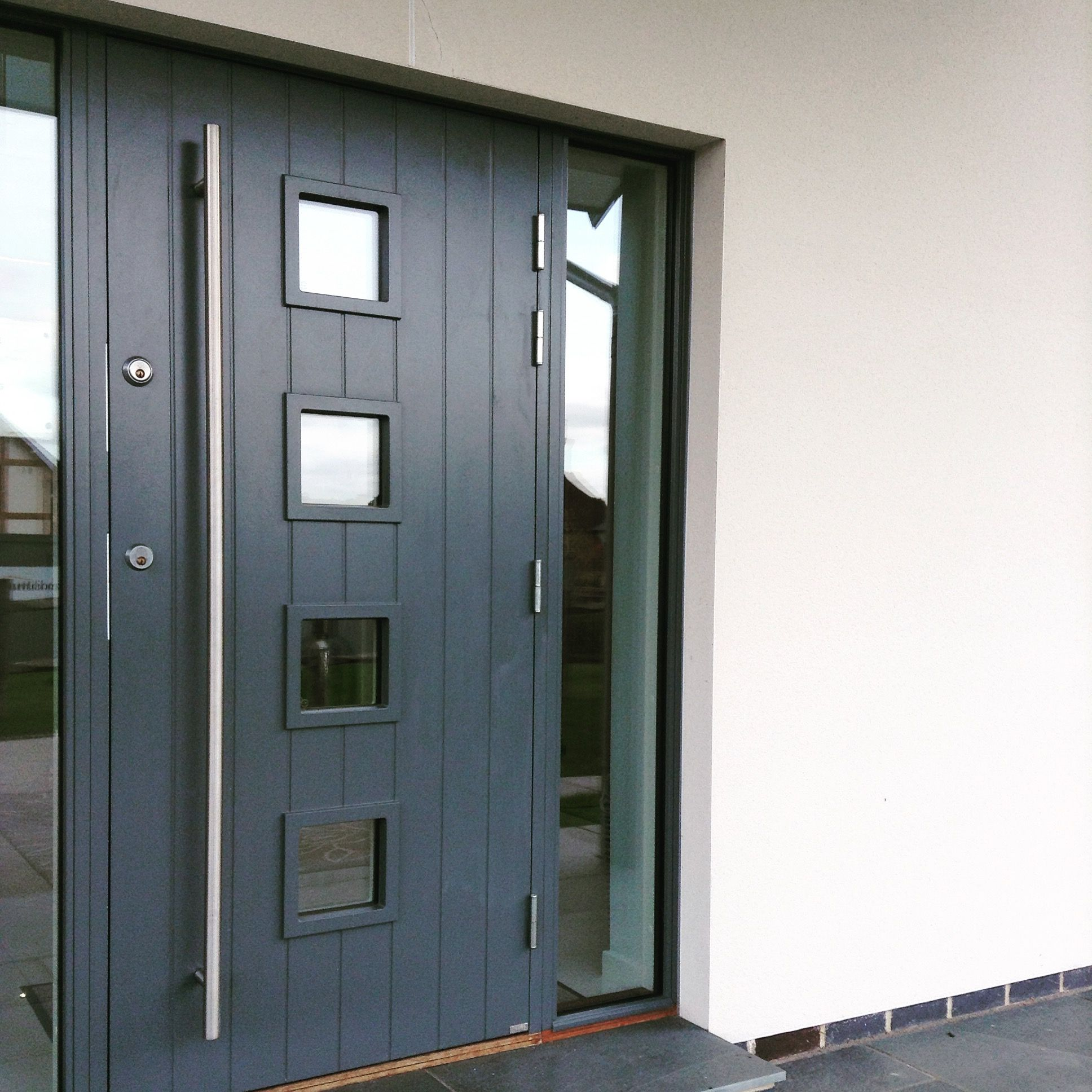 Timber Frame Self Build Homes From Scandia Hus: Contemporary Modern Long Bar Handle Grey Front Door