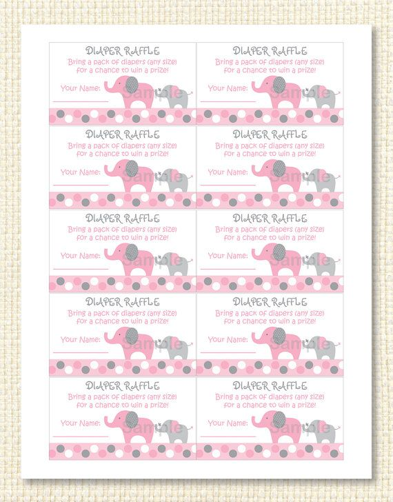 Mod Pink Elephant Printable Diaper Raffle by LittlePrintsParties - printable raffle ticket template free